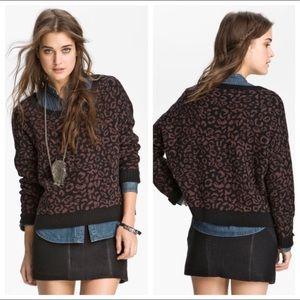 FREE PEOPLE | cheetah print boxy oversized sweater